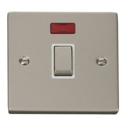 Click Deco Victorian Pearl Nickel 20A 1 Gang Double Pole Ingot Switch with Neon with White Insert