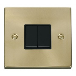 Click Deco Victorian Satin Brass 2 Gang 2 Way 10AX Switch with Black Insert