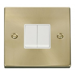 Click Deco Victorian Satin Brass 2 Gang 2 Way 10AX Switch with White Insert