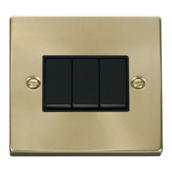 Click Deco Victorian Satin Brass 3 Gang 2 Way 10AX Switch with Black Insert
