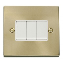 Click Deco Victorian Satin Brass 3 Gang 2 Way 10AX Switch with White Insert