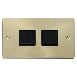 Click Deco Victorian Satin Brass 4 Gang 2 Way 10AX Switch with Black Insert