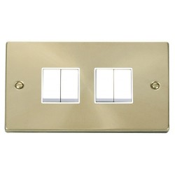Click Deco Victorian Satin Brass 4 Gang 2 Way 10AX Switch with White Insert