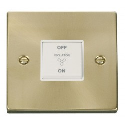 Click Deco Victorian Satin Brass 10A 1 Gang 3 Pole Fan Isolation Switch with White Insert