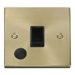 Click Deco Victorian Satin Brass 20A 1 Gang Double Pole Switch With Flex Outlet with Black Insert