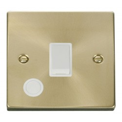Click Deco Victorian Satin Brass 20A 1 Gang Double Pole Switch With Flex Outlet with White Insert