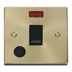 Click Deco Victorian Satin Brass 20A 1 Gang Double Pole Switch With Flex Outlet And Neon with Black Insert