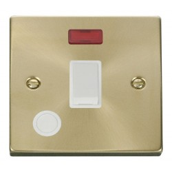 Click Deco Victorian Satin Brass 20A 1 Gang Double Pole Switch With Flex Outlet And Neon with White Insert