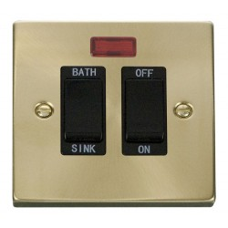 Click Deco Victorian Satin Brass 20A Double Pole Sink/Bath Switch with Black Insert