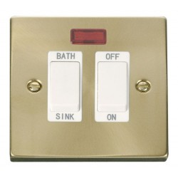 Click Deco Victorian Satin Brass 20A Double Pole Sink/Bath Switch with White Insert
