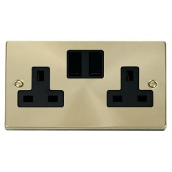 Click Deco Victorian Satin Brass 2 Gang 13A Double Pole Switched Socket Outlet with Black Insert