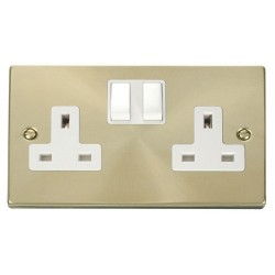 Click Deco Victorian Satin Brass 2 Gang 13A Double Pole Switched Socket Outlet with White Insert