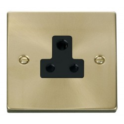 Click Deco Victorian Satin Brass 5A Round Pin Socket Outlet with Black Insert