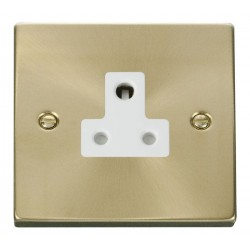 Click Deco Victorian Satin Brass 5A Round Pin Socket Outlet with White Insert