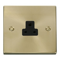 Click Deco Victorian Satin Brass 2A Round Pin Socket Outlet with Black Insert