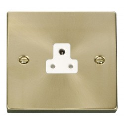 Click Deco Victorian Satin Brass 2A Round Pin Socket Outlet with White Insert