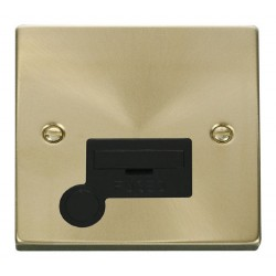 Click Deco Victorian Satin Brass 13A Fused Connection Unit With Flex Outlet with Black Insert