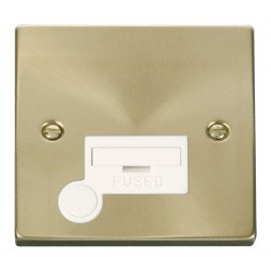Click Deco Victorian Satin Brass 13A Fused Connection Unit With Flex Outlet with White Insert