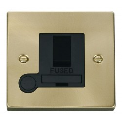 Click Deco Victorian Satin Brass 13A Fused Switched Connection Unit With Flex Outlet with Black Insert