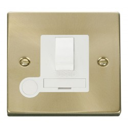 Click Deco Victorian Satin Brass 13A Fused Switched Connection Unit With Flex Outlet with White Insert