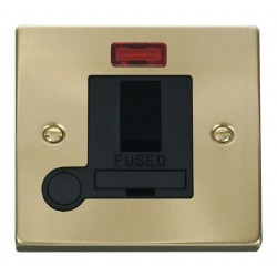 Click Deco Victorian Satin Brass 13A Fused Switched Connection Unit With Flex Outlet with Neon with Black Insert