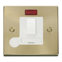 Click Deco Victorian Satin Brass 13A Fused Switched Connection Unit With Flex Outlet with Neon with White Insert