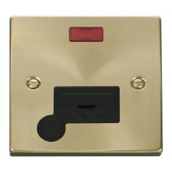 Click Deco Victorian Satin Brass 13A Fused Connection Unit With Flex Outlet with Neon with Black Insert