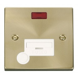 Click Deco Victorian Satin Brass 13A Fused Connection Unit With Flex Outlet with Neon with White Insert