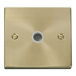 Click Deco Victorian Satin Brass Single Coaxial Socket Outlet with White Insert