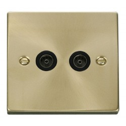 Click Deco Victorian Satin Brass Twin Coaxial Socket Outlet with Black Insert
