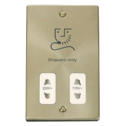 Click Deco Victorian Satin Brass Dual Voltage Shaver Socket Outlet 115/230V with White Insert