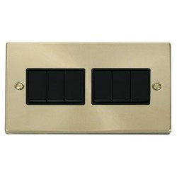 Click Deco Victorian Satin Brass 6 Gang 2 Way 10AX Switch with Black Insert