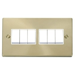 Click Deco Victorian Satin Brass 6 Gang 2 Way 10AX Switch with White Insert