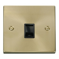 Click Deco Victorian Satin Brass Single RJ11 Socket (Ireland/USA) with Black Insert