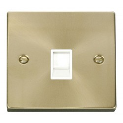 Click Deco Victorian Satin Brass Single RJ11 Socket (Ireland/USA) with White Insert