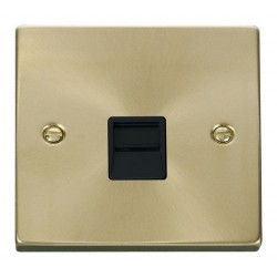 Click Deco Victorian Satin Brass Single Telephone Socket Outlet Master with Black Insert