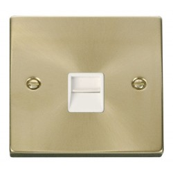 Click Deco Victorian Satin Brass Single Telephone Socket Outlet Secondary with White Insert