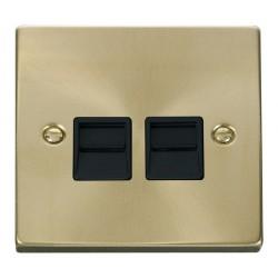 Click Deco Victorian Satin Brass Twin Telephone Socket Outlet Secondary with Black Insert