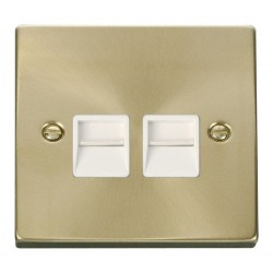 Click Deco Victorian Satin Brass Twin Telephone Socket Outlet Secondary with White Insert