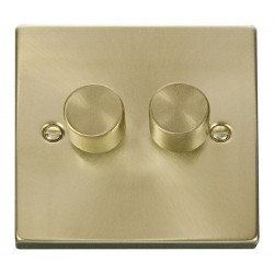 Click Deco Victorian Satin Brass 2 Gang 2 Way 400W Dimmer Switch