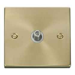 Click Deco Victorian Satin Brass 1 Gang Satellite Socket Outlet with White Insert