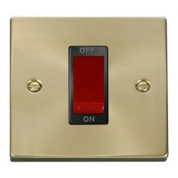 Click Deco Victorian Satin Brass 1 Gang 45A Double Pole Switch with Black Insert