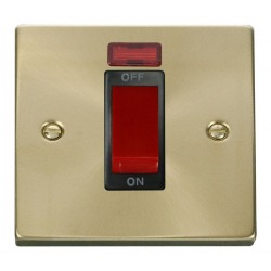 Click Deco Victorian Satin Brass 1 Gang 45A Double Pole Switch With Neon with Black Insert