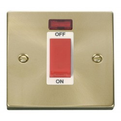 Click Deco Victorian Satin Brass 1 Gang 45A Double Pole Switch With Neon with White Insert