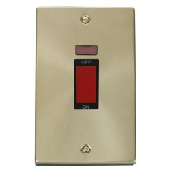 Click Deco Victorian Satin Brass 2 Gang 45A Double Pole Switch With Neon with Black Insert