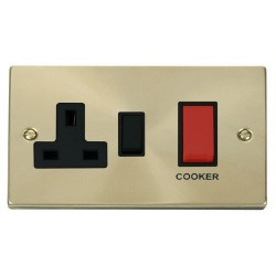 Click Deco Victorian Satin Brass 45A Double Pole Switch and 13A Switched Socket with Black Insert