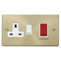 Click Deco Victorian Satin Brass 45A Double Pole Switch and 13A Switched Socket with White Insert