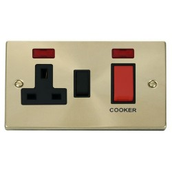 Click Deco Victorian Satin Brass 45A Double Pole Switch and 13A Switched Socket with Neons (2) with Black Insert