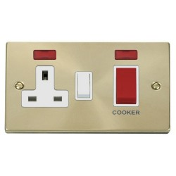 Click Deco Victorian Satin Brass 45A Double Pole Switch and 13A Switched Socket with Neons (2) with White Insert