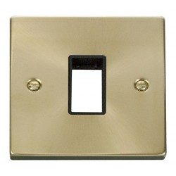 Click Deco Victorian Satin Brass 1 Gang Plate Single Aperture with Black Insert